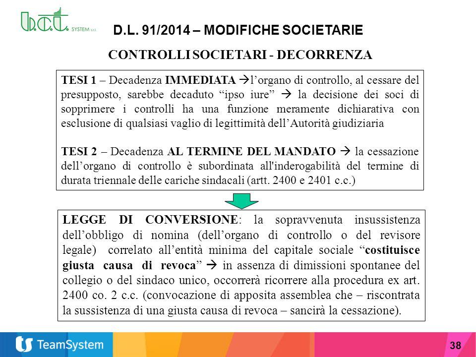 38 D.L. 91/2014 – MODIFICHE SOCIETARIE CONTROLLI SOCIETARI - DECORRENZA TESI 1 – Decadenza IMMEDIATA  l'organo di controllo, al cessare del presuppos