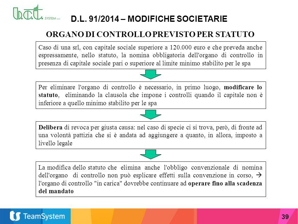 39 D.L. 91/2014 – MODIFICHE SOCIETARIE ORGANO DI CONTROLLO PREVISTO PER STATUTO Caso di una srl, con capitale sociale superiore a 120.000 euro e che p