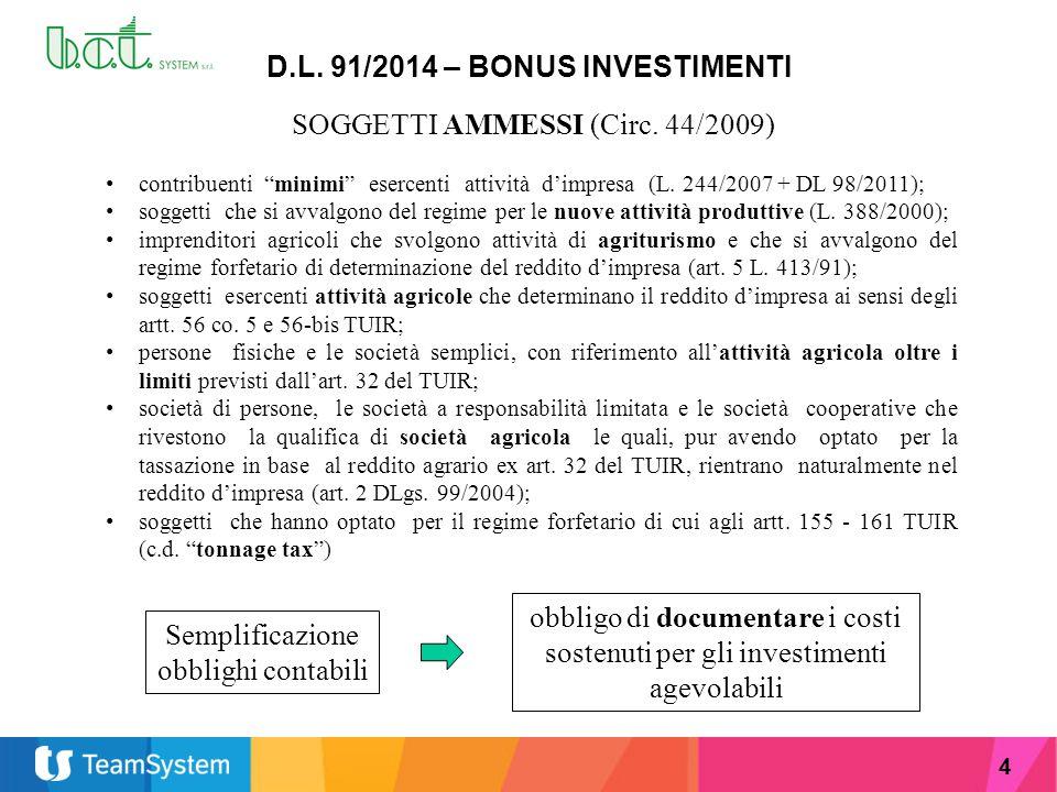 """4 D.L. 91/2014 – BONUS INVESTIMENTI SOGGETTI AMMESSI (Circ. 44/2009) contribuenti """"minimi"""" esercenti attività d'impresa (L. 244/2007 + DL 98/2011); so"""