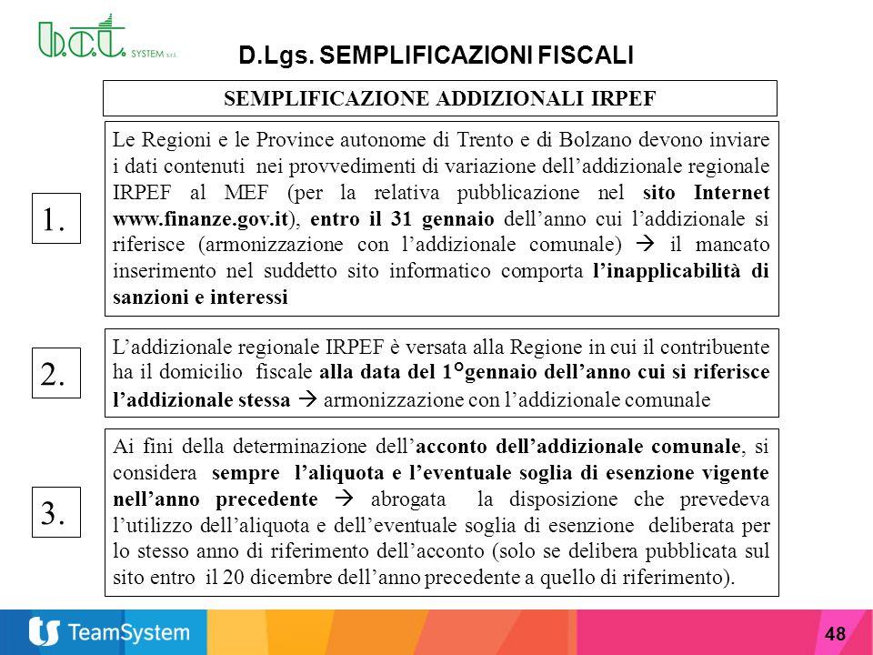 48 D.Lgs. SEMPLIFICAZIONI FISCALI SEMPLIFICAZIONE ADDIZIONALI IRPEF Le Regioni e le Province autonome di Trento e di Bolzano devono inviare i dati con