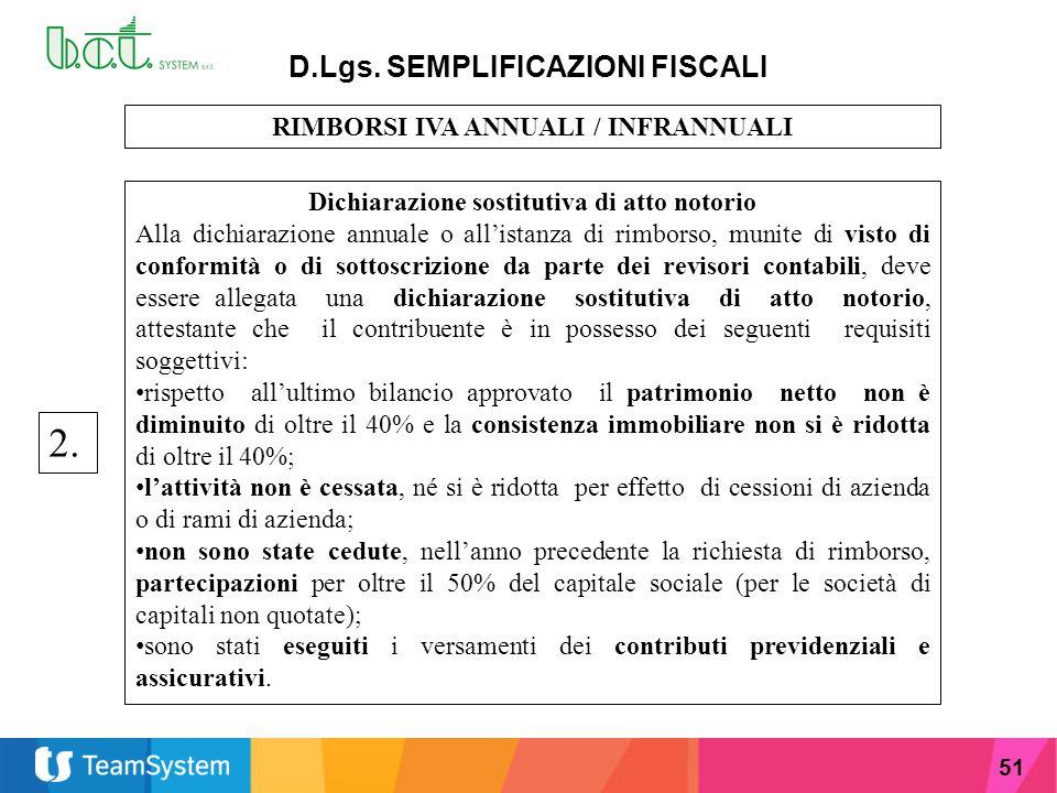 51 D.Lgs. SEMPLIFICAZIONI FISCALI RIMBORSI IVA ANNUALI / INFRANNUALI Dichiarazione sostitutiva di atto notorio Alla dichiarazione annuale o all'istanz