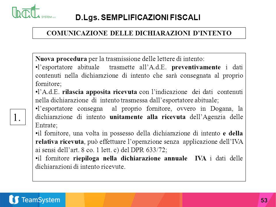 53 D.Lgs. SEMPLIFICAZIONI FISCALI COMUNICAZIONE DELLE DICHIARAZIONI D'INTENTO Nuova procedura per la trasmissione delle lettere di intento: l'esportat