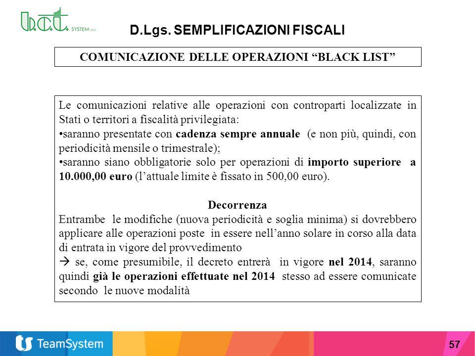 """57 D.Lgs. SEMPLIFICAZIONI FISCALI COMUNICAZIONE DELLE OPERAZIONI """"BLACK LIST"""" Le comunicazioni relative alle operazioni con controparti localizzate in"""