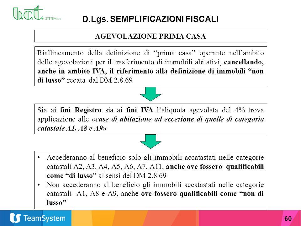 """60 D.Lgs. SEMPLIFICAZIONI FISCALI AGEVOLAZIONE PRIMA CASA Riallineamento della definizione di """"prima casa"""" operante nell'ambito delle agevolazioni per"""