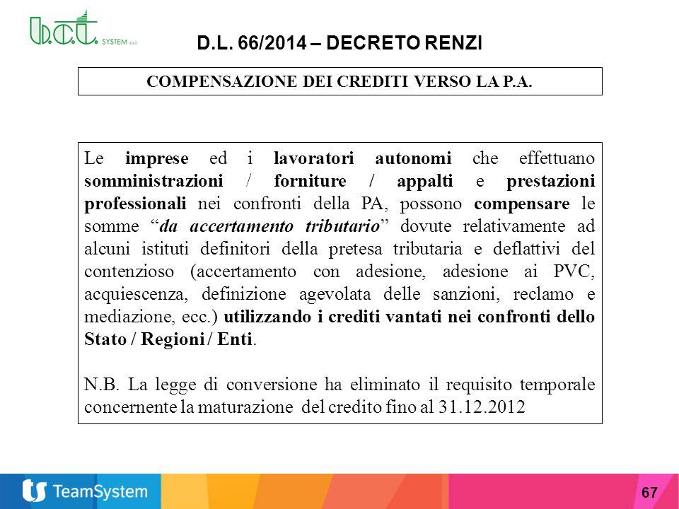 67 D.L. 66/2014 – DECRETO RENZI COMPENSAZIONE DEI CREDITI VERSO LA P.A. Le imprese ed i lavoratori autonomi che effettuano somministrazioni / fornitur