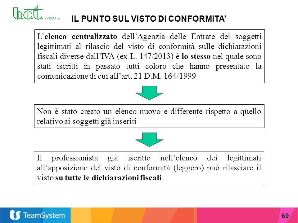 69 IL PUNTO SUL VISTO DI CONFORMITA' L'elenco centralizzato dell'Agenzia delle Entrate dei soggetti legittimati al rilascio del visto di conformità su