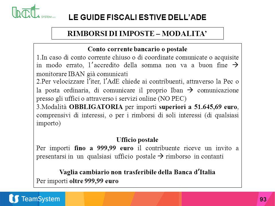 93 LE GUIDE FISCALI ESTIVE DELL'ADE RIMBORSI DI IMPOSTE – MODALITA' Conto corrente bancario o postale 1.In caso di conto corrente chiuso o di coordina