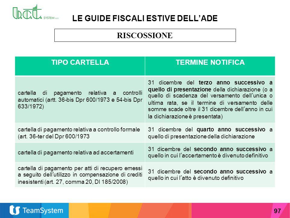 97 LE GUIDE FISCALI ESTIVE DELL'ADE RISCOSSIONE TIPO CARTELLATERMINE NOTIFICA cartella di pagamento relativa a controlli automatici (artt. 36-bis Dpr