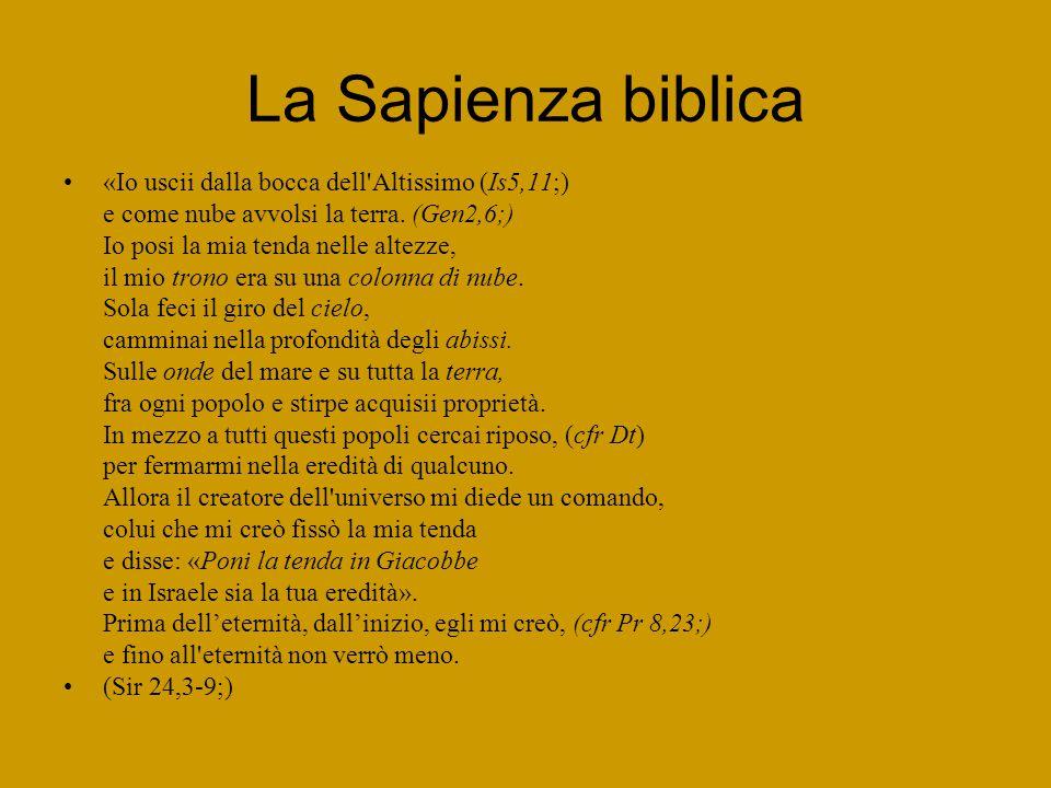 La Sapienza biblica «Io uscii dalla bocca dell Altissimo (Is5,11;) e come nube avvolsi la terra.