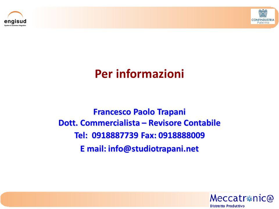 Per informazioni Francesco Paolo Trapani Dott.
