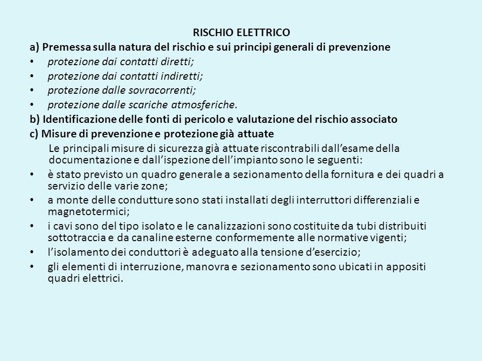 RISCHIO ELETTRICO a) Premessa sulla natura del rischio e sui principi generali di prevenzione protezione dai contatti diretti; protezione dai contatti