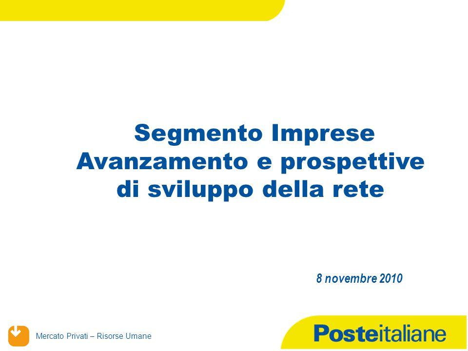 Mercato Privati – Risorse Umane Segmento Imprese Avanzamento e prospettive di sviluppo della rete 8 novembre 2010