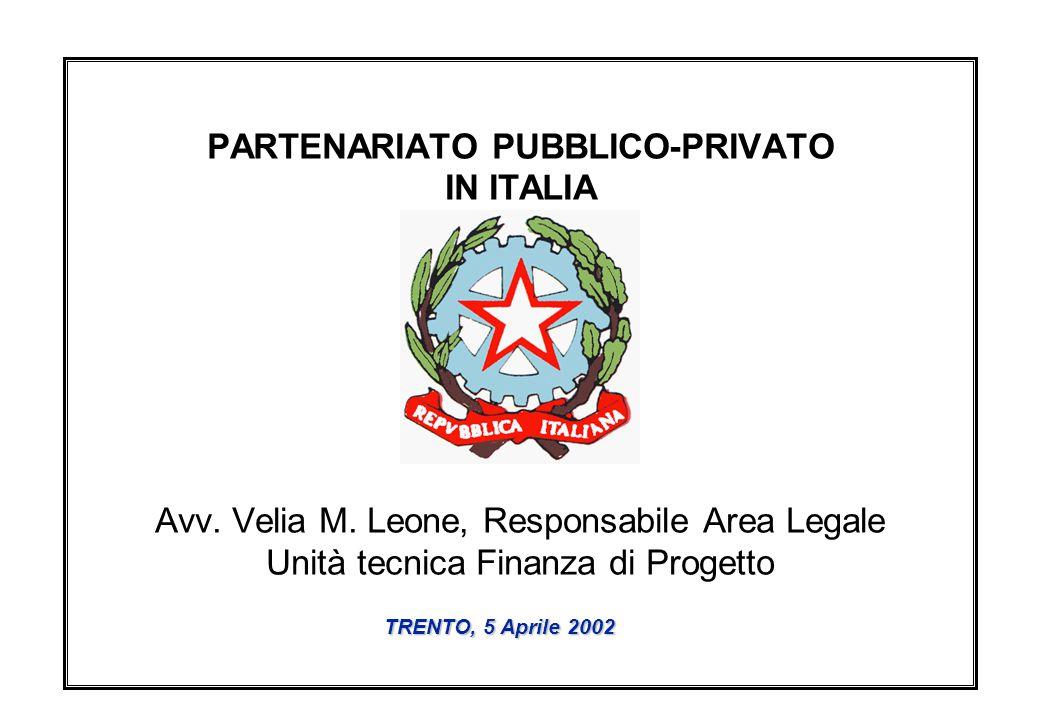 PARTENARIATO PUBBLICO-PRIVATO IN ITALIA Avv. Velia M.