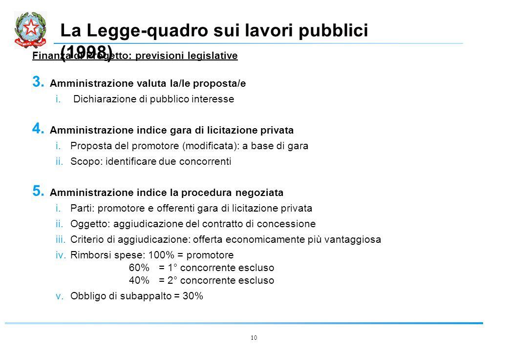 10 La Legge-quadro sui lavori pubblici (1998) Finanza di Progetto: previsioni legislative 3.