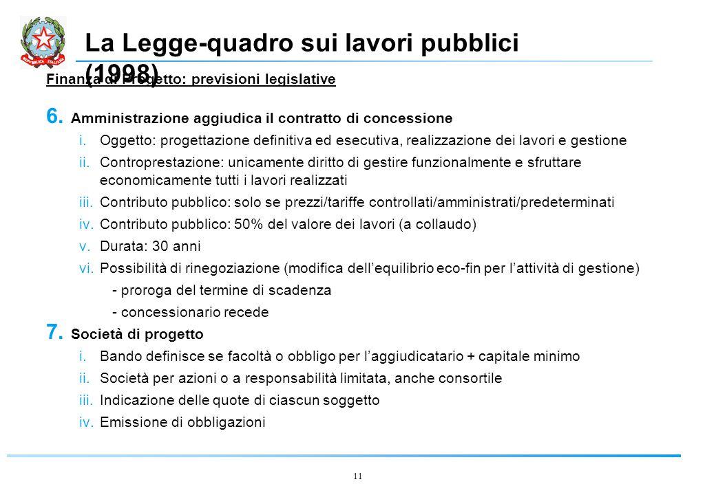 11 La Legge-quadro sui lavori pubblici (1998) Finanza di Progetto: previsioni legislative 6.