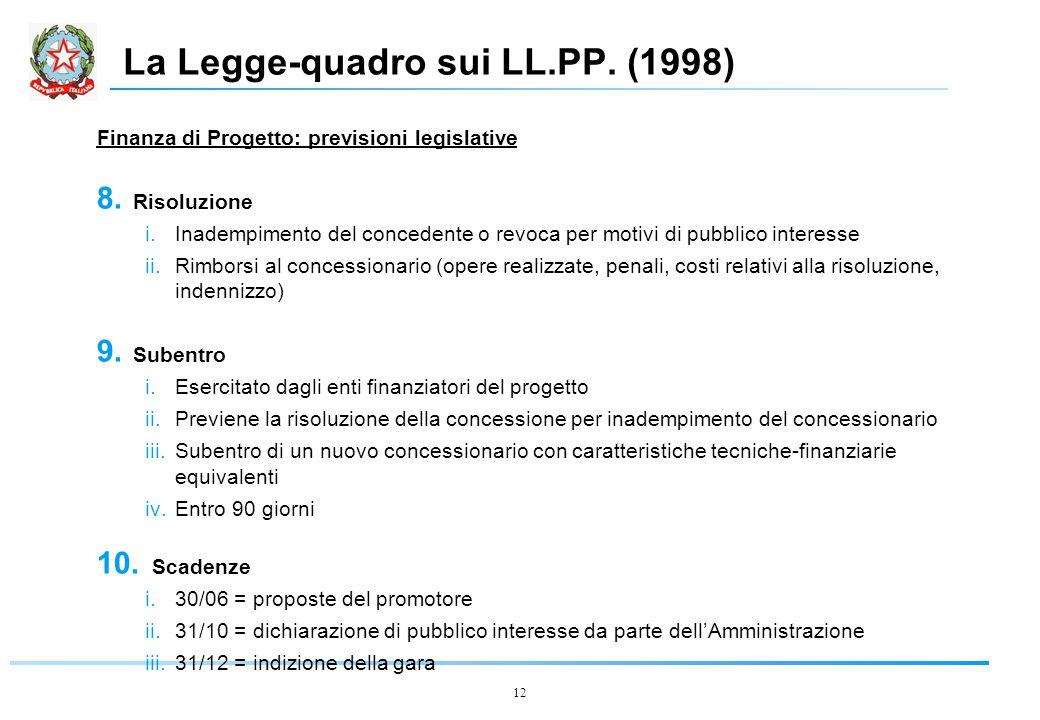 12 La Legge-quadro sui LL.PP. (1998) Finanza di Progetto: previsioni legislative 8.