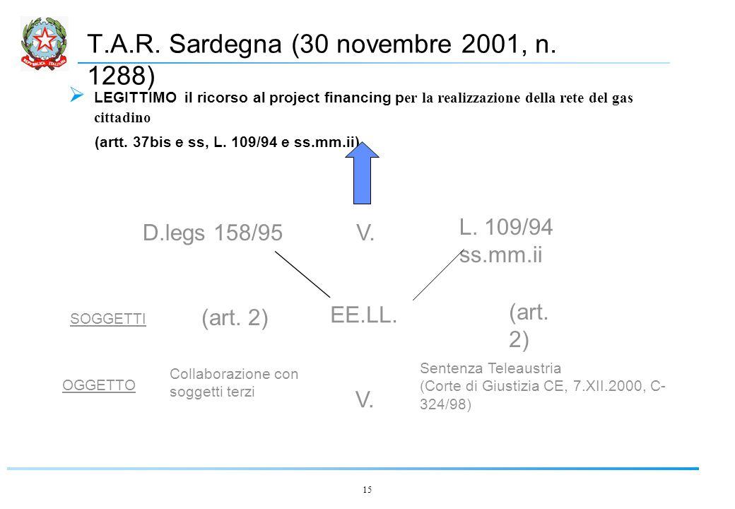15 T.A.R. Sardegna (30 novembre 2001, n.
