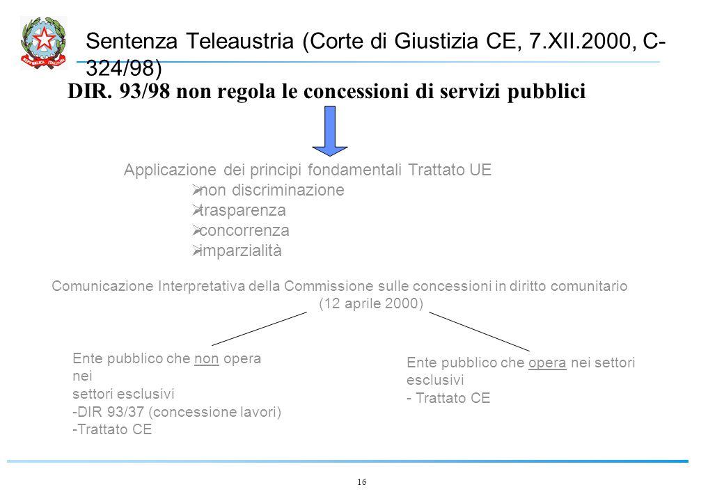 16 Sentenza Teleaustria (Corte di Giustizia CE, 7.XII.2000, C- 324/98) DIR.