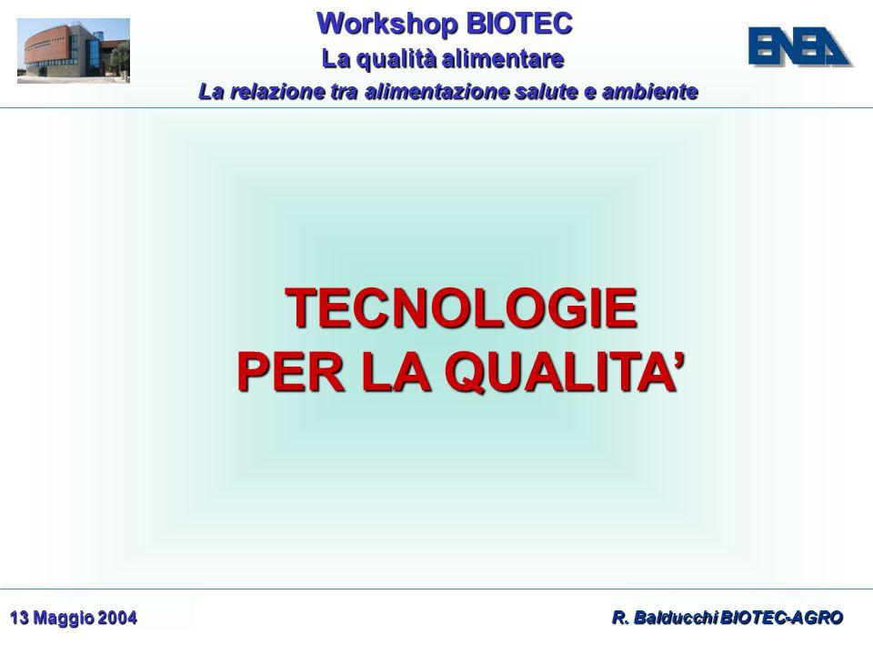 WorkshopBIOTEC Workshop BIOTEC La qualità alimentare La qualità alimentare La relazione tra alimentazione salute e ambiente 13 Maggio 2004 R. Balducch