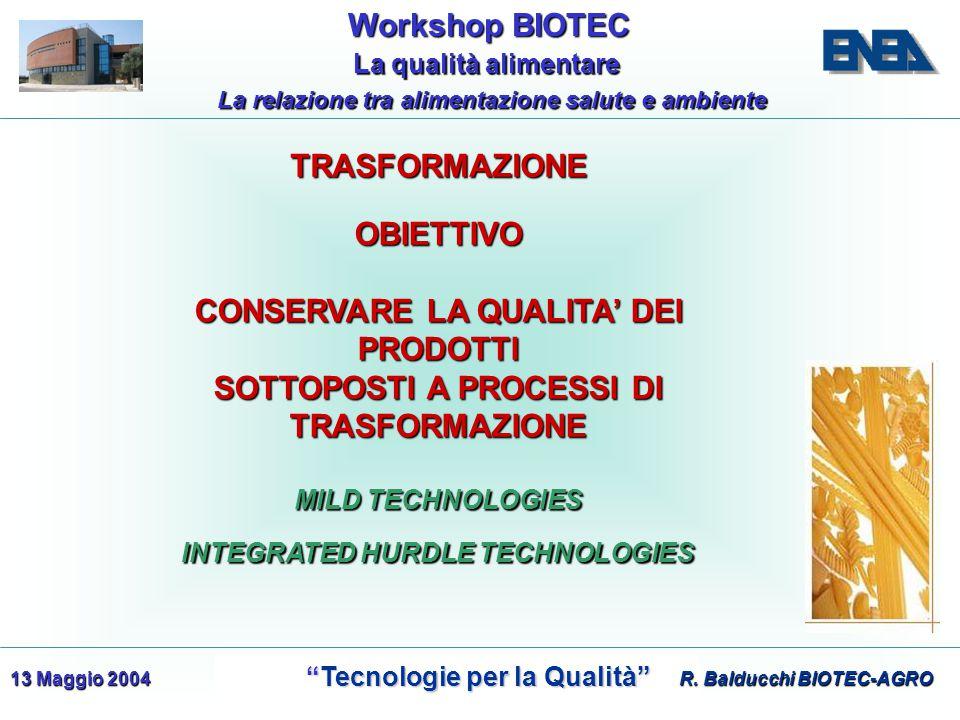 WorkshopBIOTEC Workshop BIOTEC Tecnologie per la Qualità Tecnologie per la Qualità La qualità alimentare La qualità alimentare La relazione tra alimentazione salute e ambiente 13 Maggio 2004 MILD TECHNOLOGIES OBIETTIVO CONSERVARE LA QUALITA' DEI PRODOTTI SOTTOPOSTI A PROCESSI DI TRASFORMAZIONE INTEGRATED HURDLE TECHNOLOGIES R.