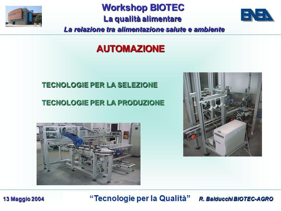 WorkshopBIOTEC Workshop BIOTEC Tecnologie per la Qualità Tecnologie per la Qualità La qualità alimentare La qualità alimentare La relazione tra alimentazione salute e ambiente 13 Maggio 2004 TECNOLOGIE PER LA SELEZIONE TECNOLOGIE PER LA PRODUZIONE R.