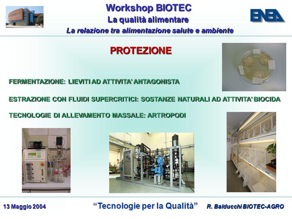 WorkshopBIOTEC Workshop BIOTEC Tecnologie per la Qualità Tecnologie per la Qualità La qualità alimentare La qualità alimentare La relazione tra alimentazione salute e ambiente 13 Maggio 2004 FERMENTAZIONE: LIEVITI AD ATTIVITA' ANTAGONISTA TECNOLOGIE DI ALLEVAMENTO MASSALE: ARTROPODI ESTRAZIONE CON FLUIDI SUPERCRITICI: SOSTANZE NATURALI AD ATTIVITA' BIOCIDA R.