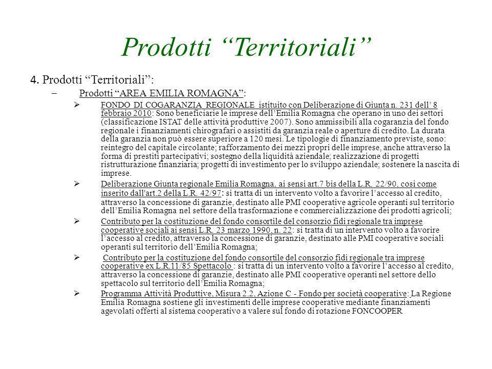 """Prodotti """"Territoriali"""" 4. Prodotti """"Territoriali"""": – Prodotti """"AREA EMILIA ROMAGNA"""":  FONDO DI COGARANZIA REGIONALE istituito con Deliberazione di G"""