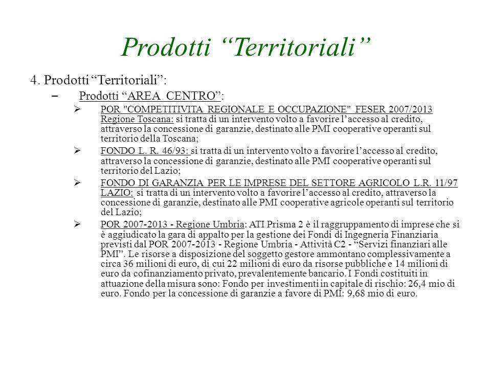 "Prodotti ""Territoriali"" 4. Prodotti ""Territoriali"": – Prodotti ""AREA CENTRO"":  POR"