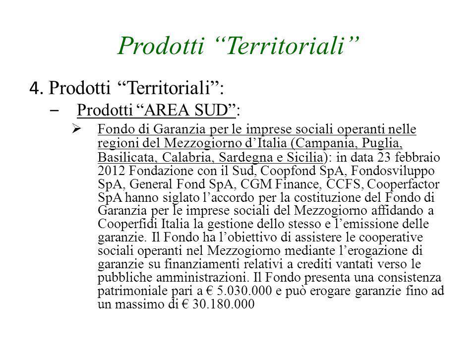 """Prodotti """"Territoriali"""" 4. Prodotti """"Territoriali"""": – Prodotti """"AREA SUD"""":  Fondo di Garanzia per le imprese sociali operanti nelle regioni del Mezzo"""