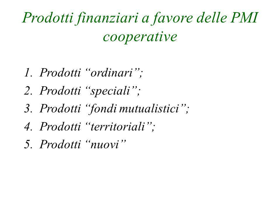 """Prodotti finanziari a favore delle PMI cooperative 1.Prodotti """"ordinari""""; 2.Prodotti """"speciali""""; 3.Prodotti """"fondi mutualistici""""; 4.Prodotti """"territor"""