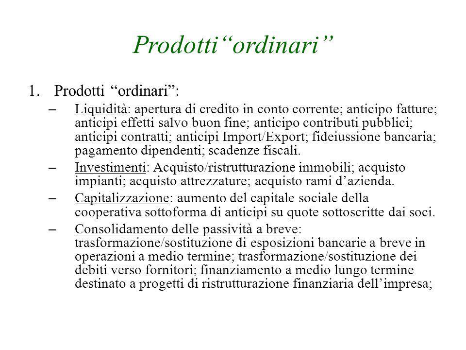 """Prodotti""""ordinari"""" 1.Prodotti """"ordinari"""": – Liquidità: apertura di credito in conto corrente; anticipo fatture; anticipi effetti salvo buon fine; anti"""