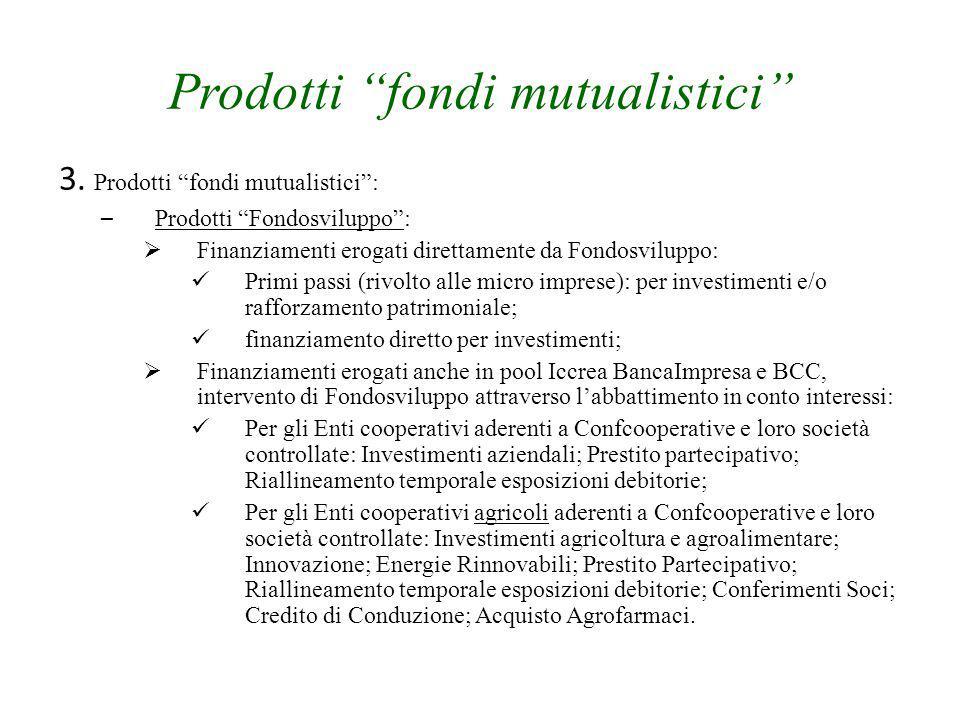 """Prodotti """"fondi mutualistici"""" 3. Prodotti """"fondi mutualistici"""": – Prodotti """"Fondosviluppo"""":  Finanziamenti erogati direttamente da Fondosviluppo: Pri"""