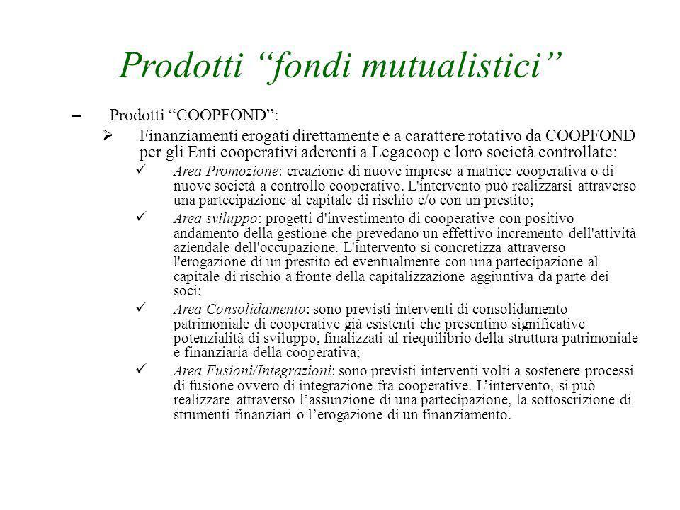 """Prodotti """"fondi mutualistici"""" – Prodotti """"COOPFOND"""":  Finanziamenti erogati direttamente e a carattere rotativo da COOPFOND per gli Enti cooperativi"""