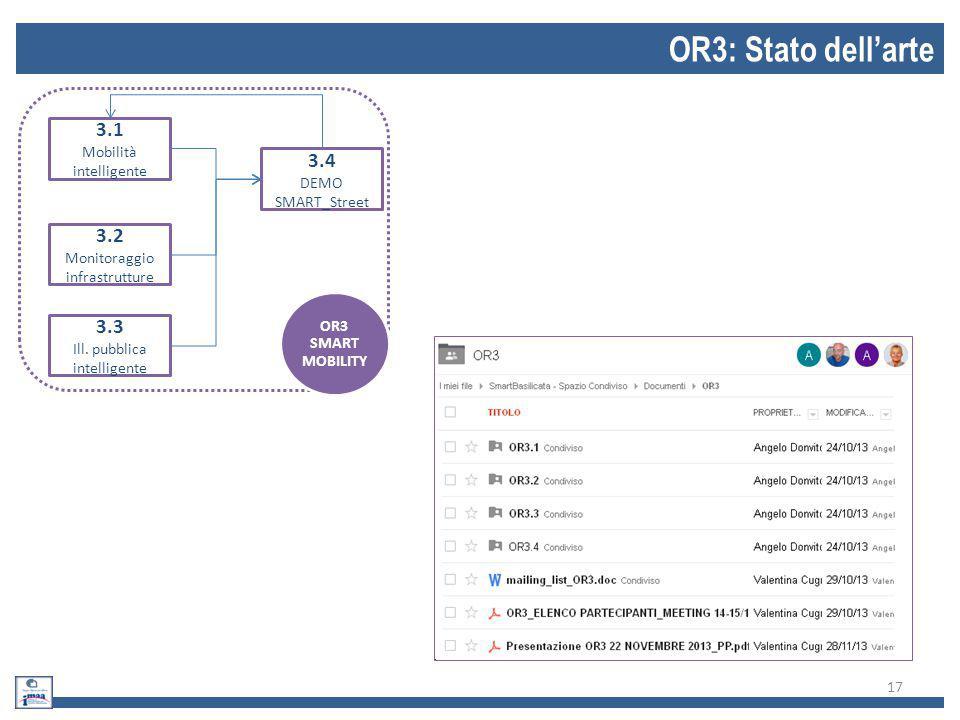 17 OR3: Stato dell'arte 3.1 Mobilità intelligente 3.2 Monitoraggio infrastrutture 3.3 Ill. pubblica intelligente 3.4 DEMO SMART_Street OR3 SMART MOBIL