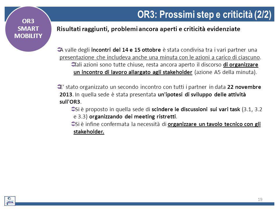 19 OR3: Prossimi step e criticità (2/2) OR3 SMART MOBILITY Risultati raggiunti, problemi ancora aperti e criticità evidenziate  A valle degli incontr