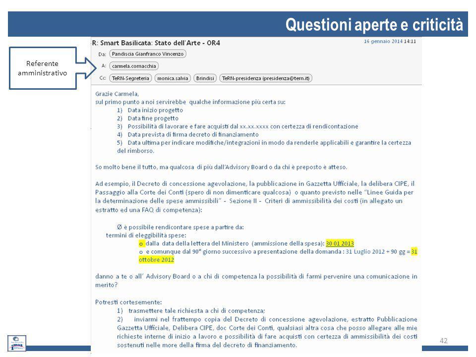 Questioni aperte e criticità 42 Referente amministrativo