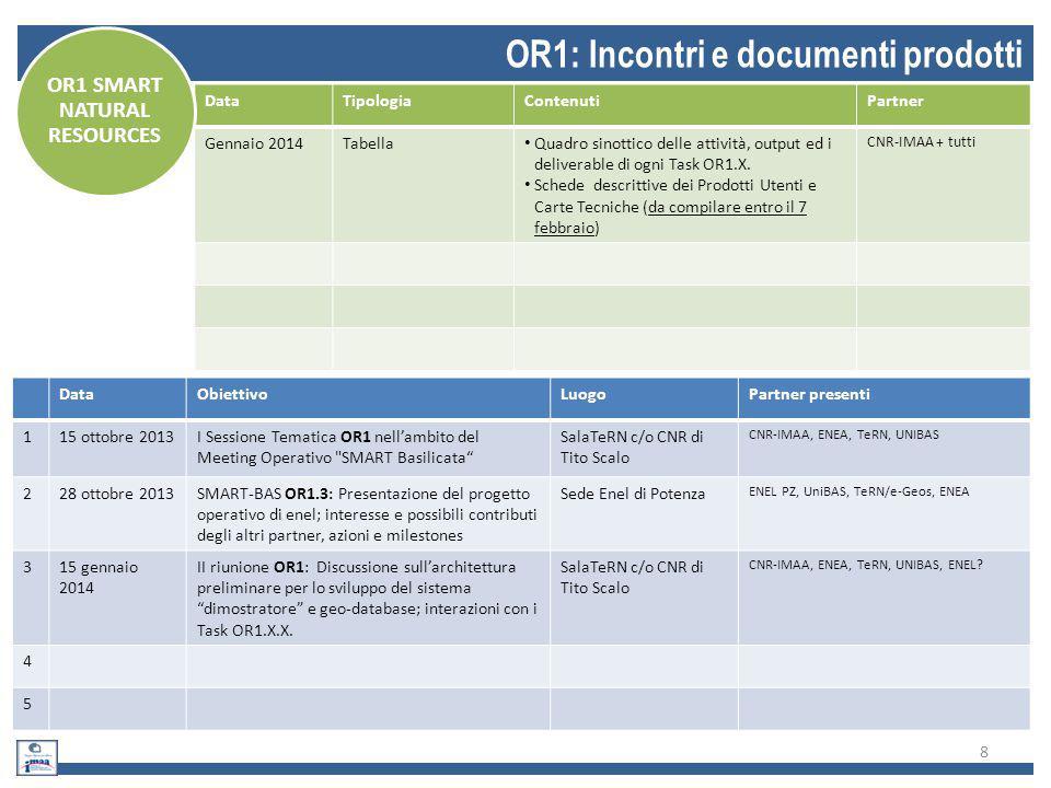 8 OR1: Incontri e documenti prodotti DataObiettivoLuogoPartner presenti 115 ottobre 2013I Sessione Tematica OR1 nell'ambito del Meeting Operativo