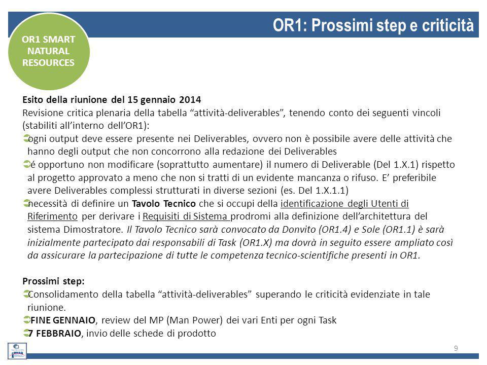 """9 OR1: Prossimi step e criticità Esito della riunione del 15 gennaio 2014 Revisione critica plenaria della tabella """"attività-deliverables"""", tenendo co"""