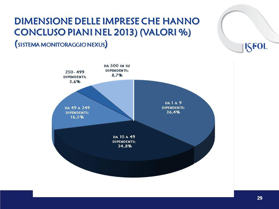 DIMENSIONE DELLE IMPRESE CHE HANNO CONCLUSO PIANI NEL 2013) (VALORI %) ( SISTEMA MONITORAGGIO NEXUS ) 29