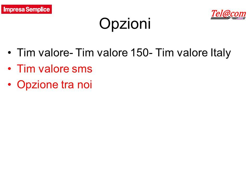 Opzioni Tim valore- Tim valore 150- Tim valore Italy Tim valore sms Opzione tra noi