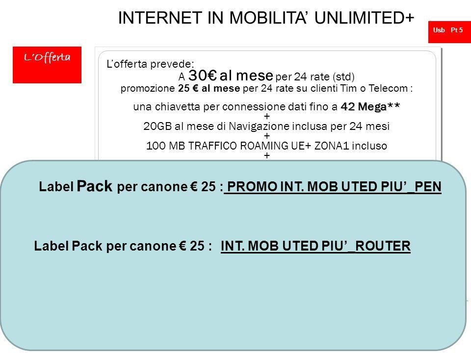 25 INTERNET IN MOBILITA' UNLIMITED+  PEN DRIVE 42 MEGA * ( mentre nella 42 MEGA * ( mentre nella versione In promozione Pen drive da 21 mega ) o a sc