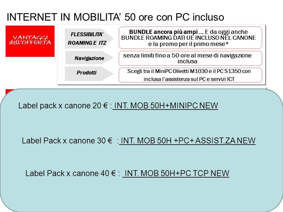 26 INTERNET IN MOBILITA' 50 ore con PC incluso VANTAGGI dell'OFFERTA Scegli tra il MiniPC Olivetti M1030 e il PC S1350 con inclusa l'assistenza sul PC