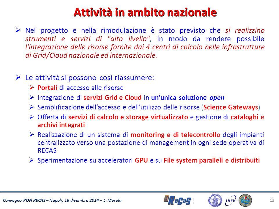 12 Convegno PON RECAS – Napoli, 16 dicembre 2014 – L. Merola  Nel progetto e nella rimodulazione è stato previsto che si realizzino strumenti e servi