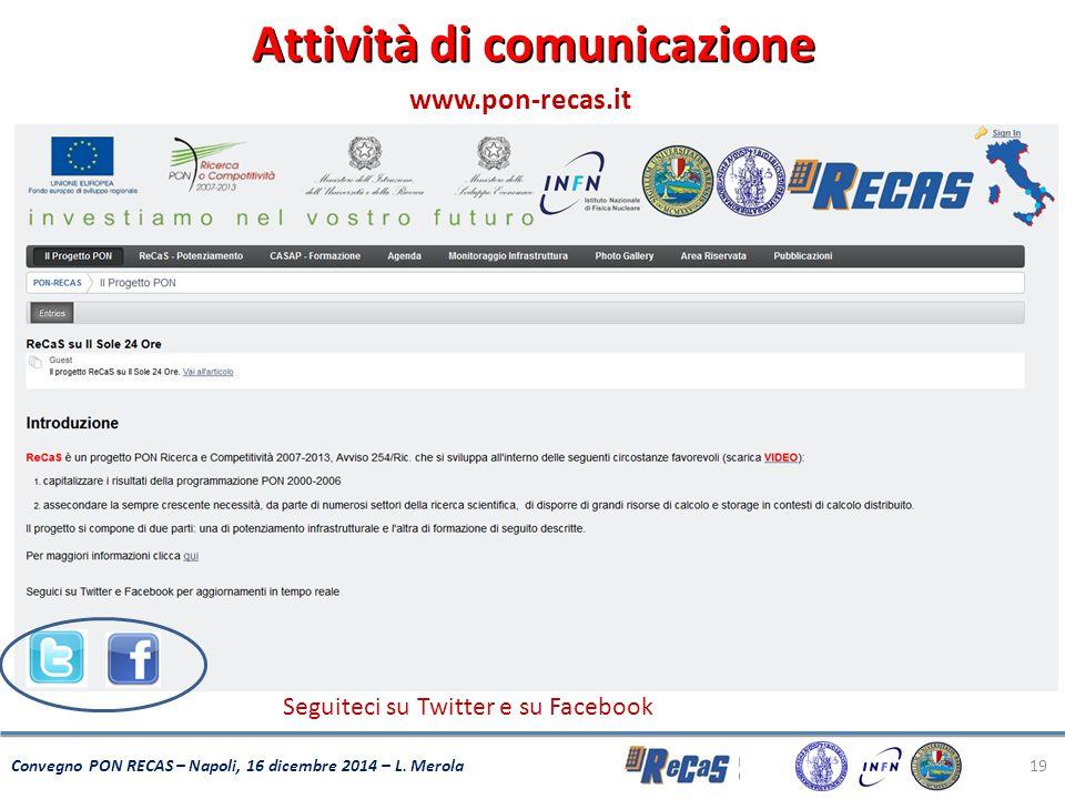 19 Convegno PON RECAS – Napoli, 16 dicembre 2014 – L. Merola Attività di comunicazione Seguiteci su Twitter e su Facebook www.pon-recas.it