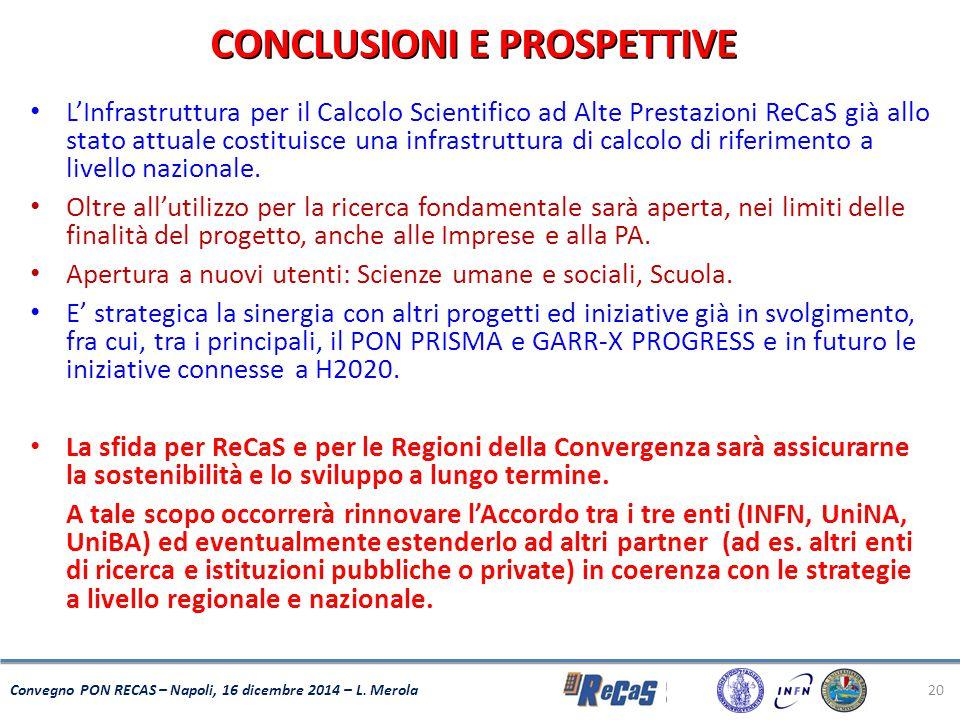 20 Convegno PON RECAS – Napoli, 16 dicembre 2014 – L. Merola CONCLUSIONI E PROSPETTIVE L'Infrastruttura per il Calcolo Scientifico ad Alte Prestazioni