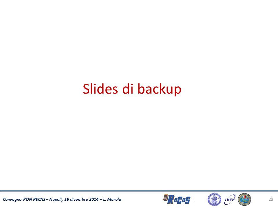 22 Convegno PON RECAS – Napoli, 16 dicembre 2014 – L. Merola Slides di backup