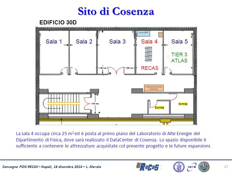 27 Convegno PON RECAS – Napoli, 16 dicembre 2014 – L. Merola Sito di Cosenza La sala 4 occupa circa 25 m 2 ed è posta al primo piano del Laboratorio d