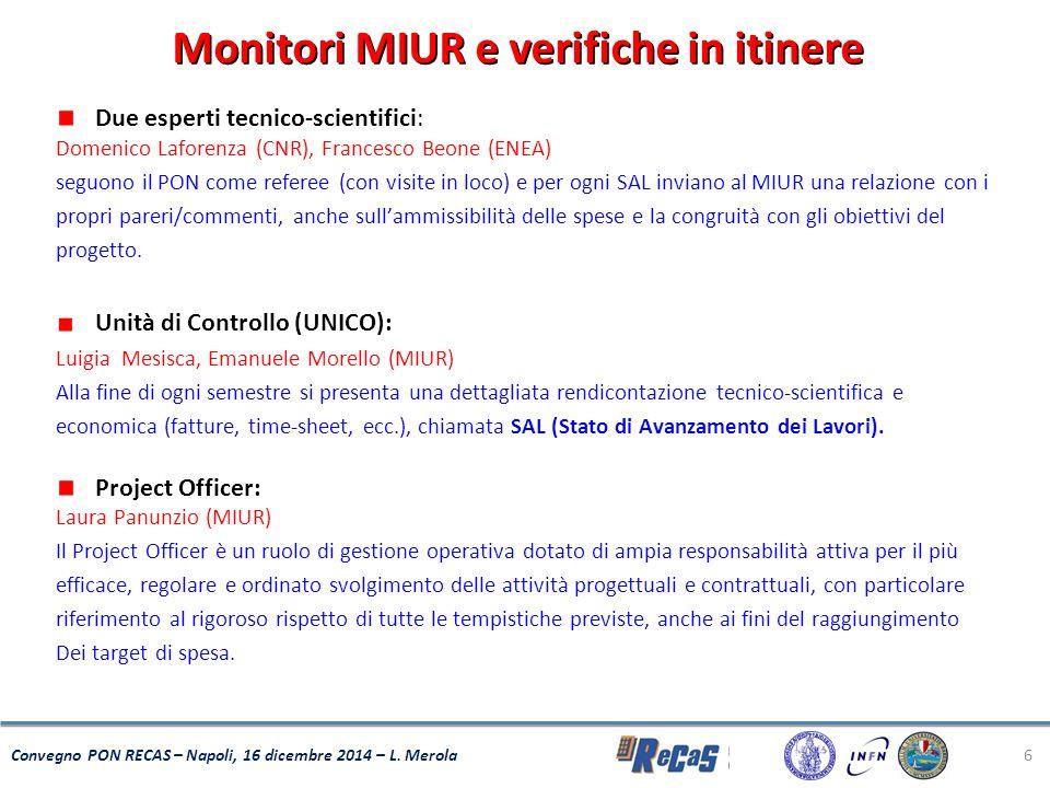 6 Convegno PON RECAS – Napoli, 16 dicembre 2014 – L. Merola Monitori MIUR e verifiche in itinere Due esperti tecnico-scientifici: Domenico Laforenza (