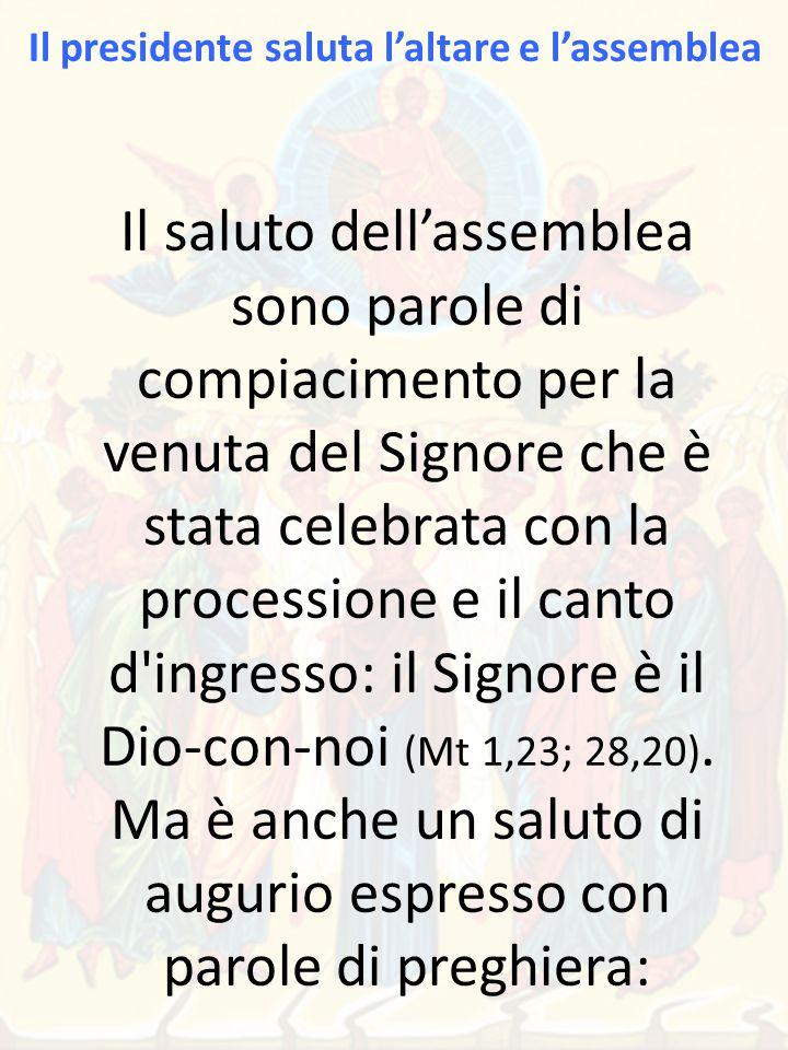 Il saluto dell'assemblea sono parole di compiacimento per la venuta del Signore che è stata celebrata con la processione e il canto d ingresso: il Signore è il Dio-con-noi (Mt 1,23; 28,20).