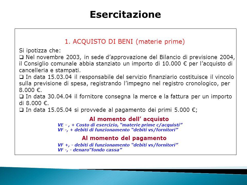 """1. ACQUISTO DI BENI (materie prime) Esercitazione VE -, + Costo di esercizio, """"materie prime c/acquisti"""" VF -, + debiti di funzionamento """"debiti vs/fo"""